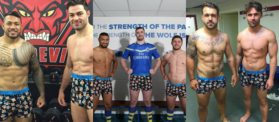 Just in case you aren't familiar with Oddballs, here's a pretty nice series of photos of Super League Rugby players sporting Oddballs Underwear, who they have also partnered up with to raise awareness of Testicular cancer.