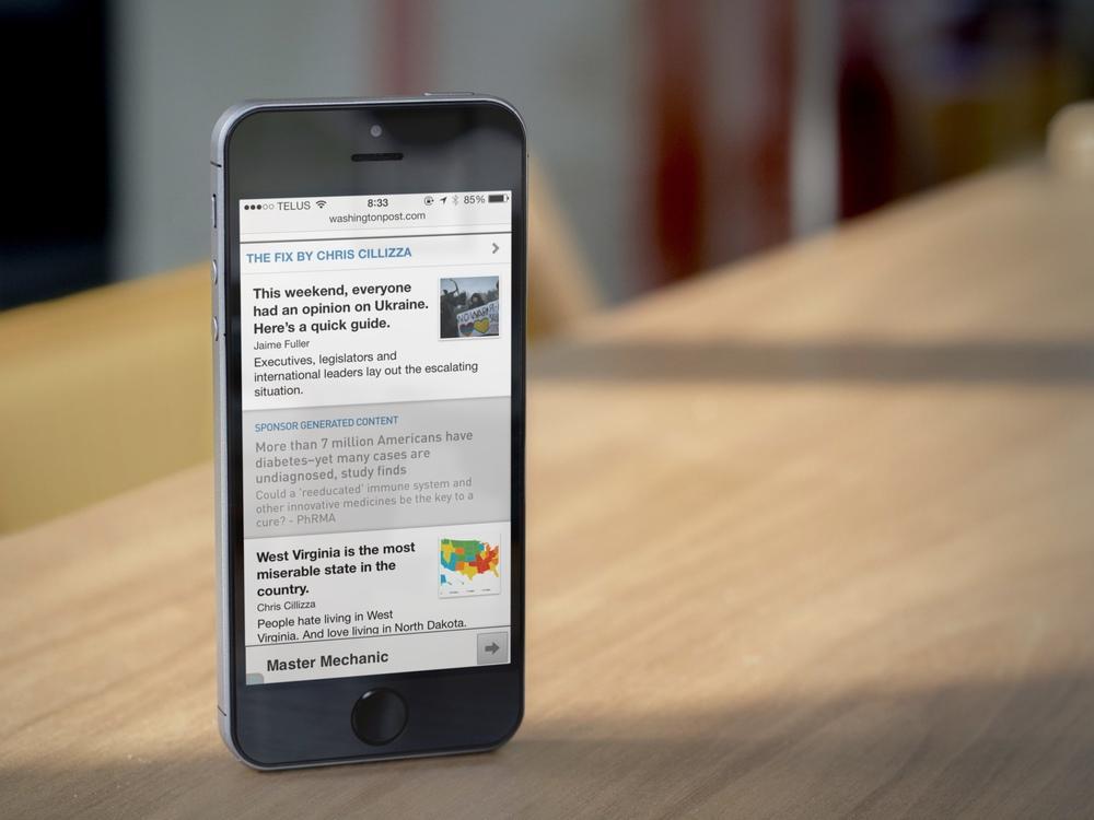Polar Washington Post in-feed ad unit