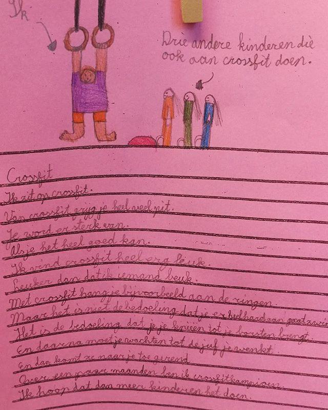 Kijk eens hoe leuk. Een meisje van 8 deed voor het eerst mee met onze crossfit les. Ze was zo enthousiast dat ze er dit gedicht over schreef. Met dank aan @loraine_pengel en @ironfitnessnl #vondelgymsspeelkwartier #vondelgym #crossfit