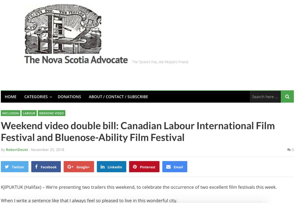 Nova Scotia Advocate, November 25th, 2018