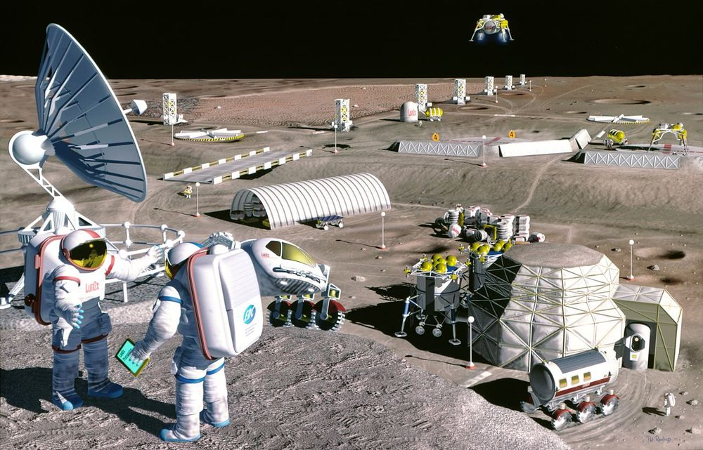 Moon colony, image produced for NASA by Pat Rawlings 1995