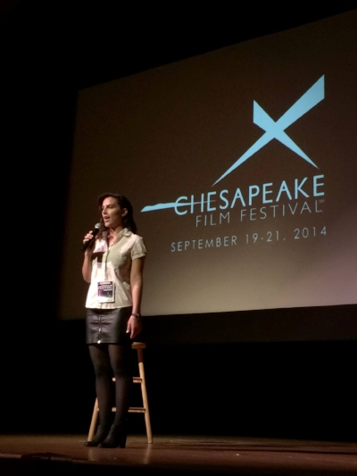 Kermani speaks after a screening of BEREAVEMENT at the Chesapeake Film Festival
