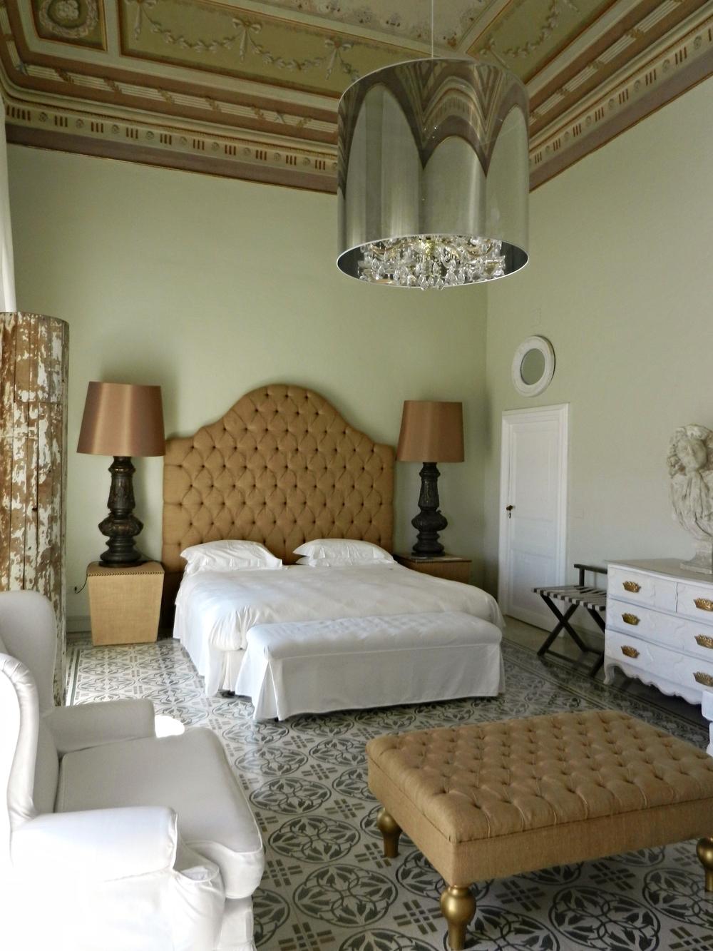 The former bedroom of a prince, at the Villadorata 7 Rooms, Noto, Sicily