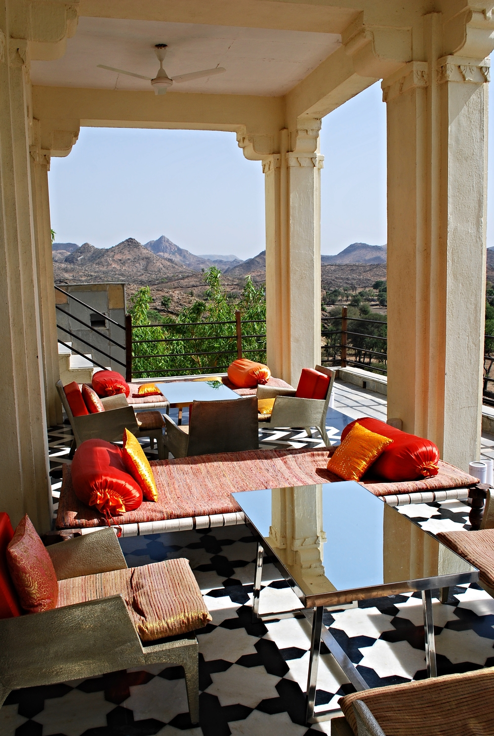 The roof terrace at Devi Garh, Udaipur.