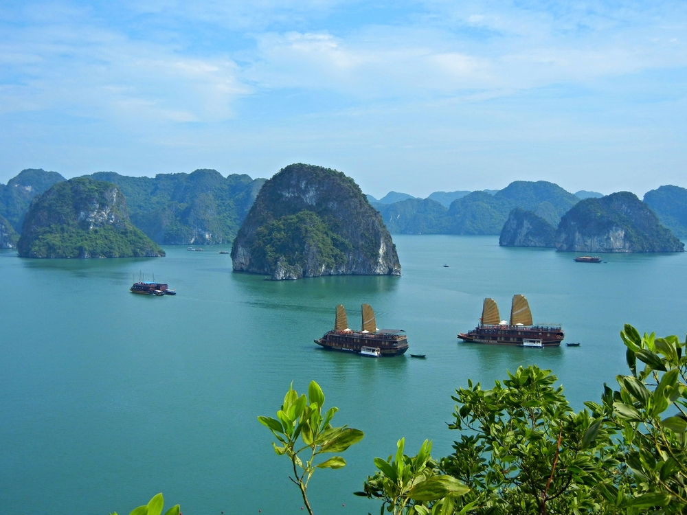 A traditional junk on Halong Bay, Vietnam.