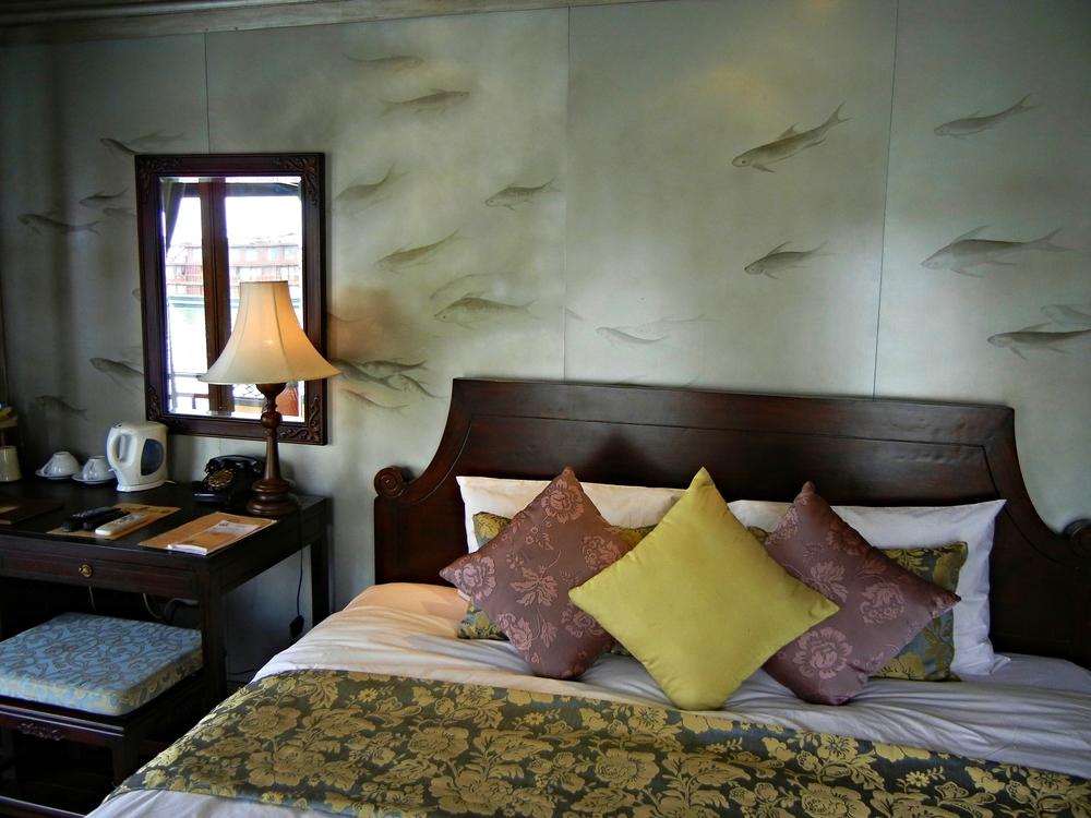 A floating bed on the Violet junk. Halong Bay.