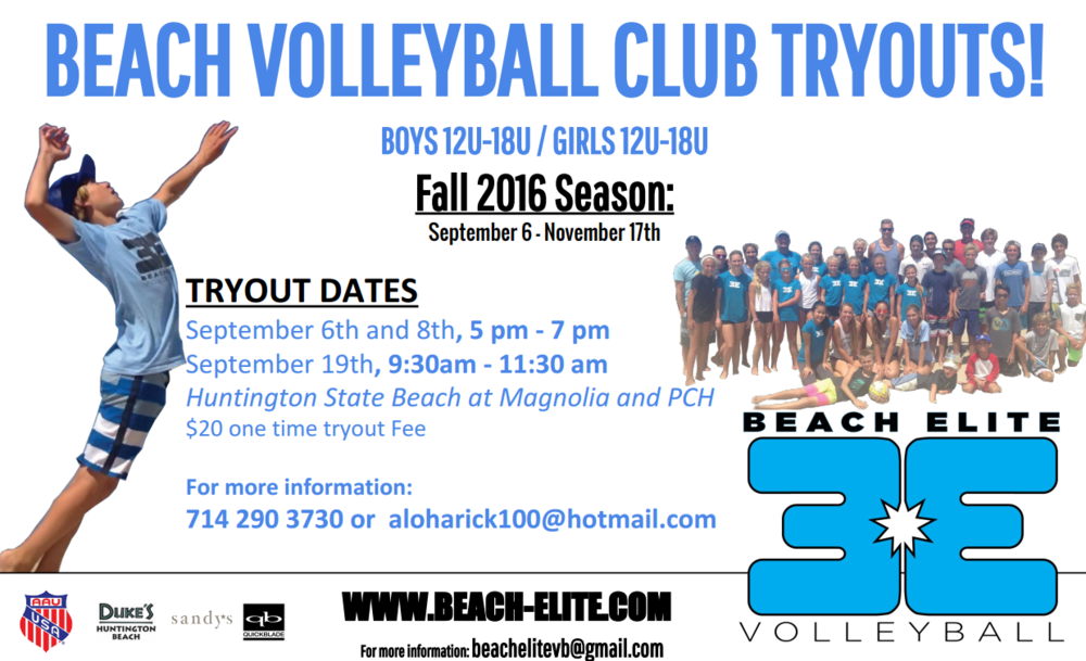 beach elite fall 2016 club tryouts