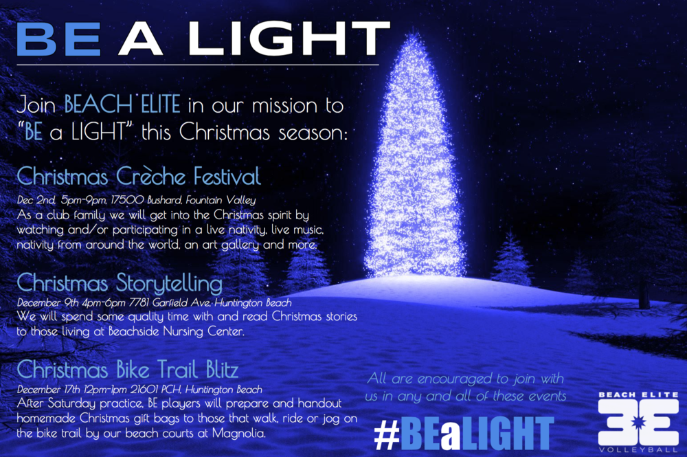 #BEaLIGHT Christmas Flyer Beach Elite 2017