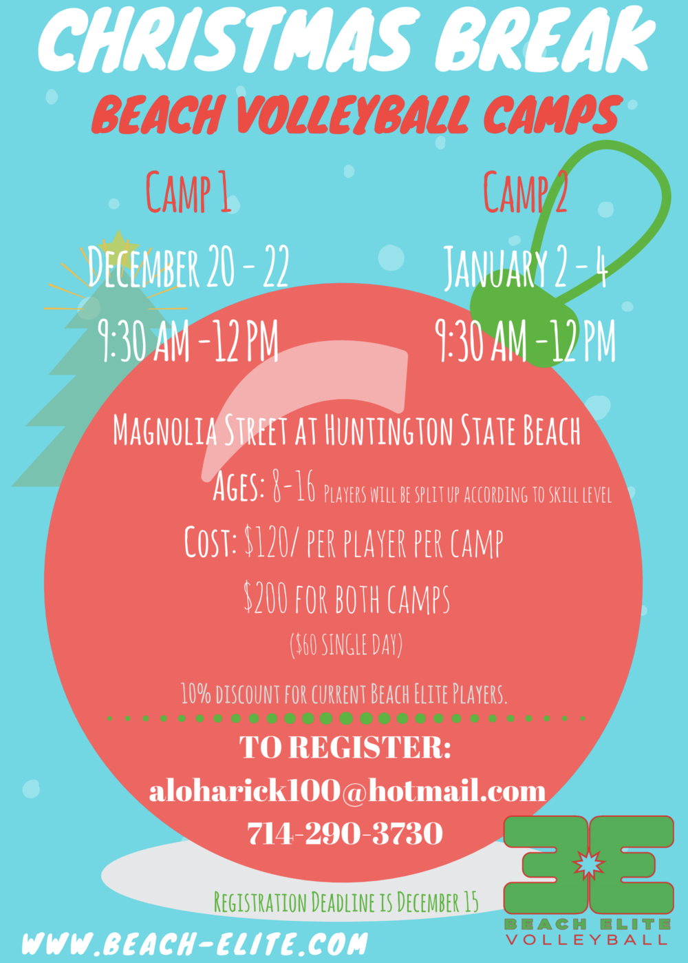 - Click the button to register for 1 or 2 Christmas Break Camps!
