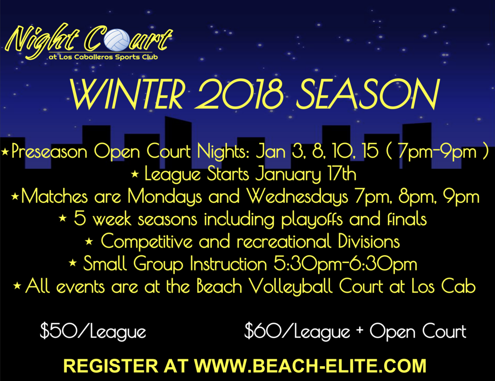 Adult Coed Night Beach Volleyball! - Season starts January 17th!
