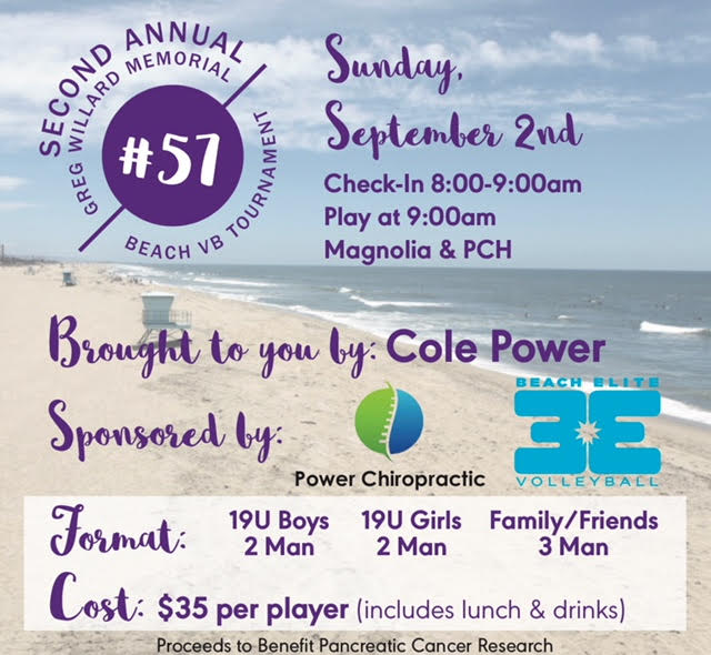 Willard Memorial Tournament (Sept 2) - Many divisions. Money goes to benefit Pancreatic Cancer