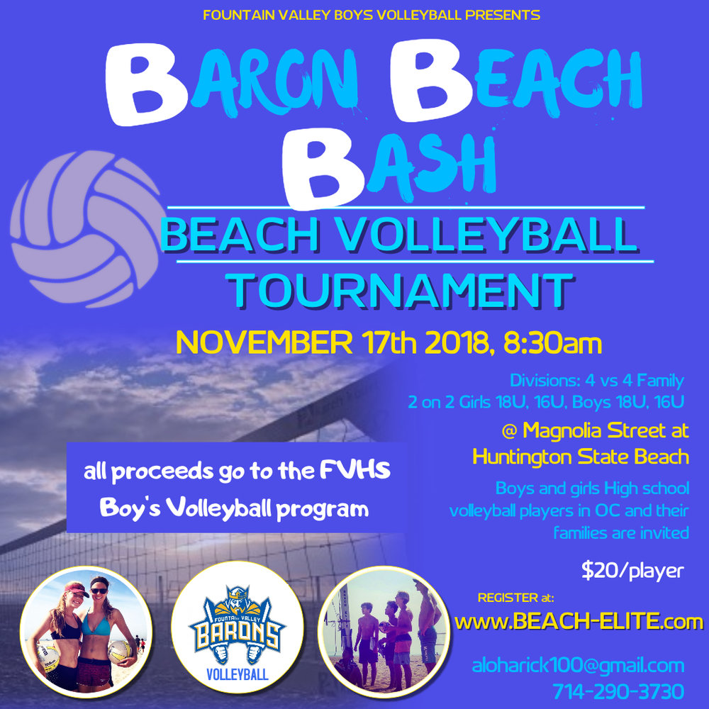 Baron Beach Bash Volleyball Tournament - November 17th$15 a player (until Nov 1) $20 a player after. $30 at the door