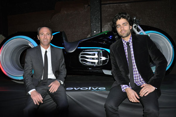 Peter Glatzer and Adrian Grenier of SHFT, with the Xenon from Evolve Motorcycles.