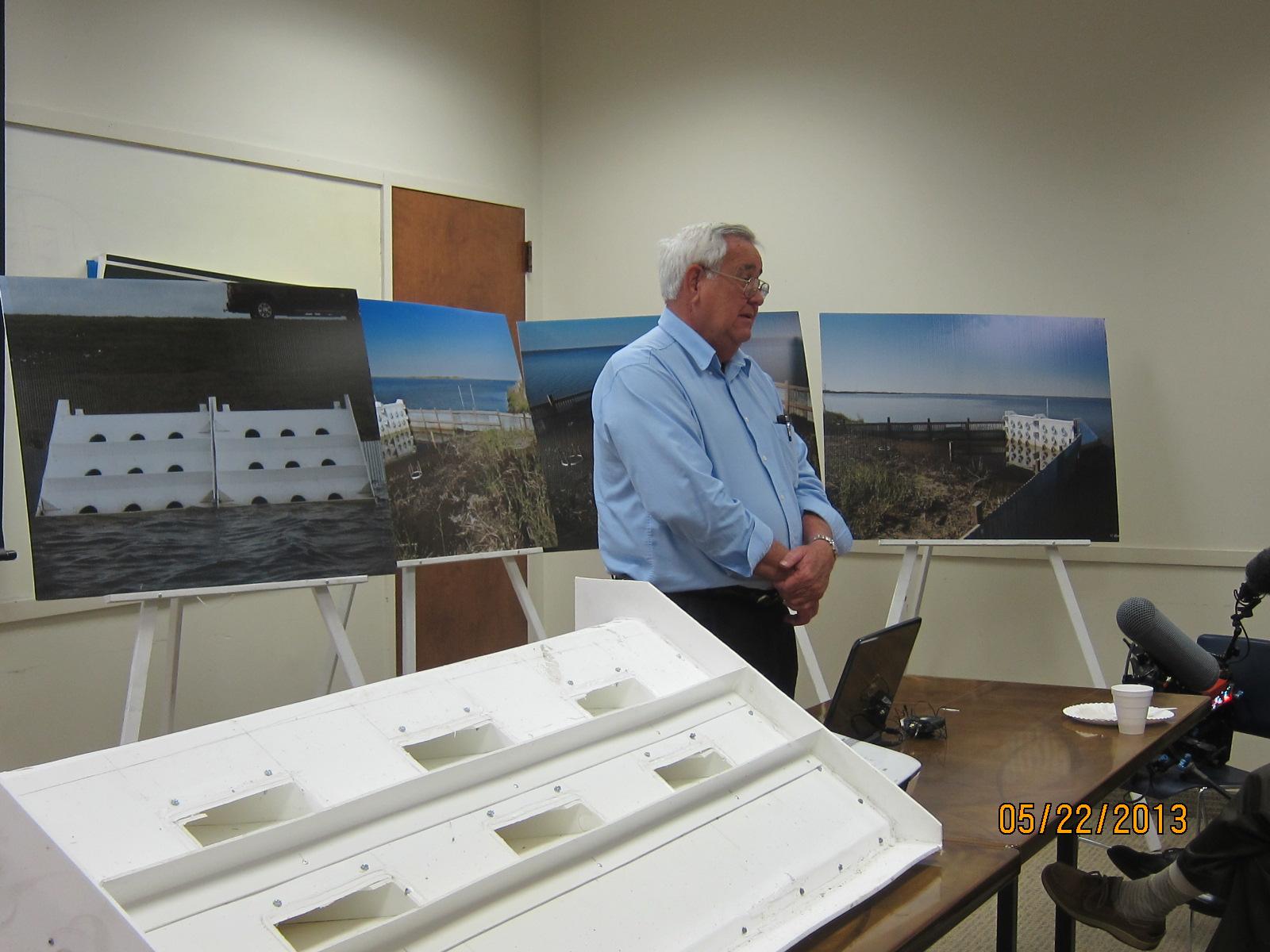 Webster Pierce presents his patented wave robber at Global Green's Blue Carbon  Workshop.