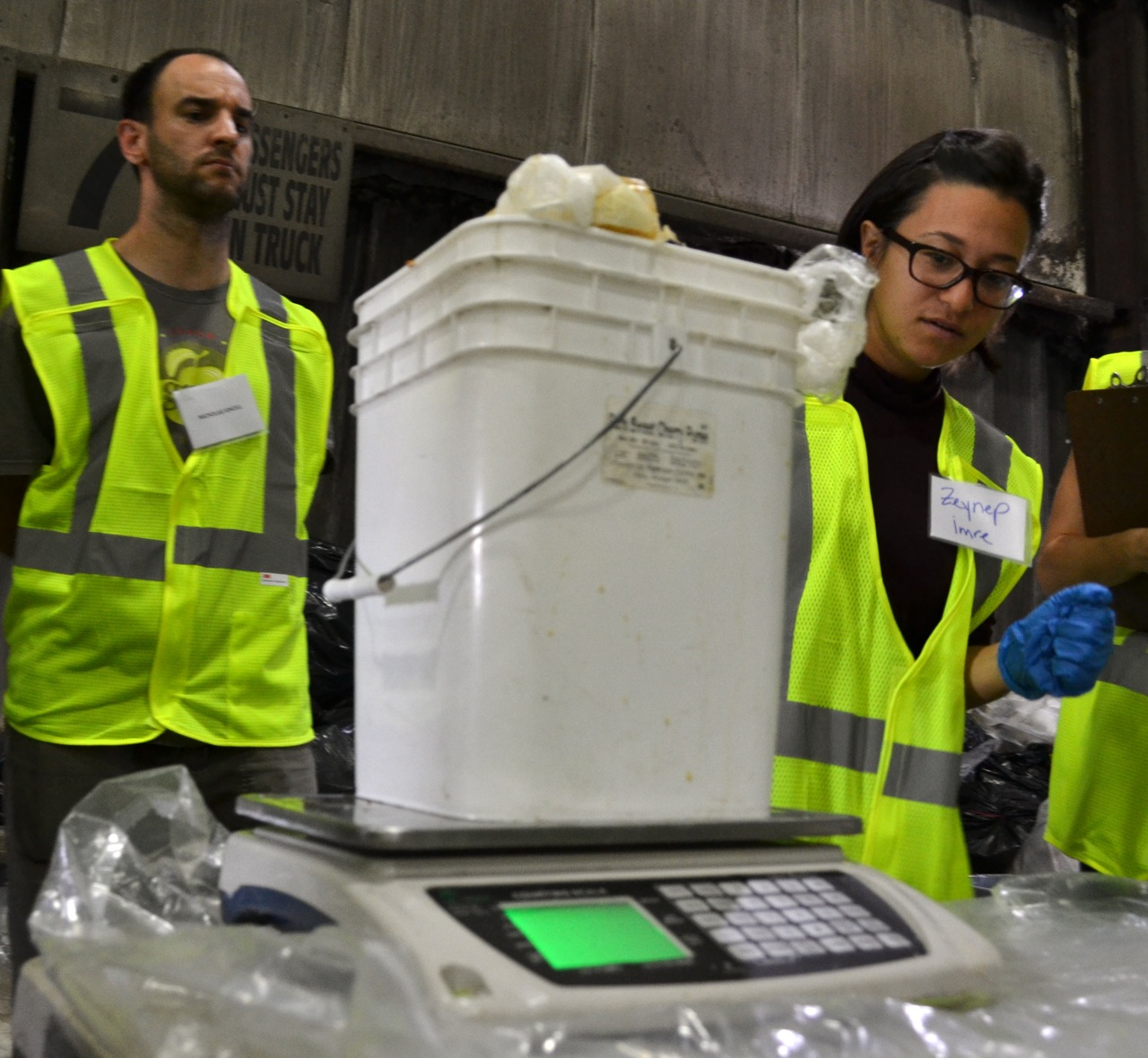 Volunteers weighing food waste during Global Green's Co-Sponsored Waste Sort for NYC's Mayor's Food Waste Challenge.  As a result of the challenge, city restaurants and institutions have already composted 2,500 tons of organic waste.