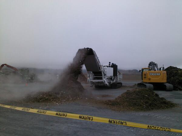 This grinder is turning large chunks of wood and organic wastes into smaller, more readily composted pieces during the equipment demonstration in Novato, CA.