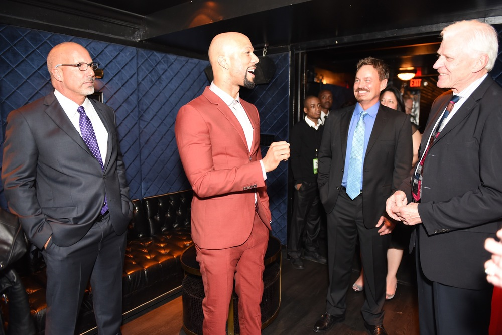 From Left to Right: Les McCabe, GGUSA CEO, Oscar Winning artist Common, Bill Bridge of Global Green, and Scott Seydel, one of the founders of CoRR.