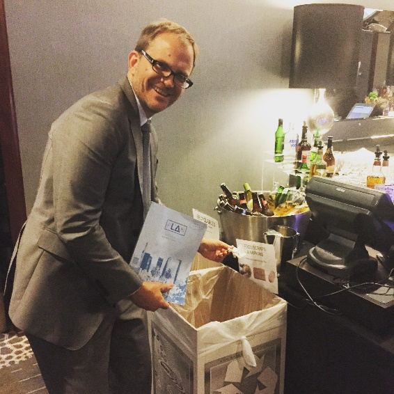 Matt Petersen, Chief Sustainability Officer, Office of Los Angeles Mayor Eric Garcetti and Global Green board member, doing his part to keep the event Zero Waste