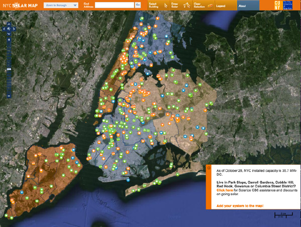 NYC SOLAR MAP by Sustainable CUNY