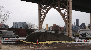 Composting system underneath the Queensborough Bridge in New York City