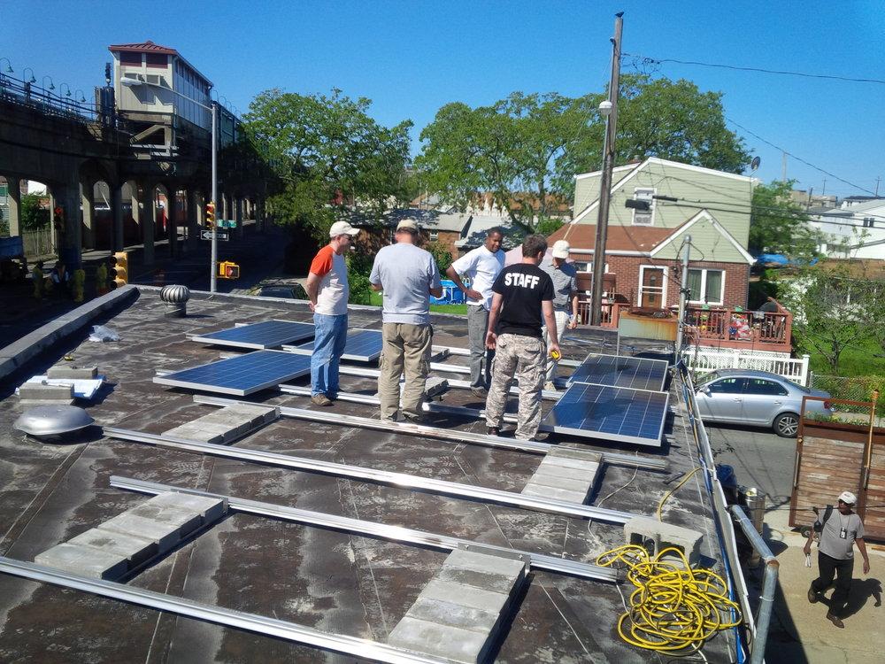 Global Green. Solar Installation Rockaway Beach Surf Club, NY (Solar for Sandy).