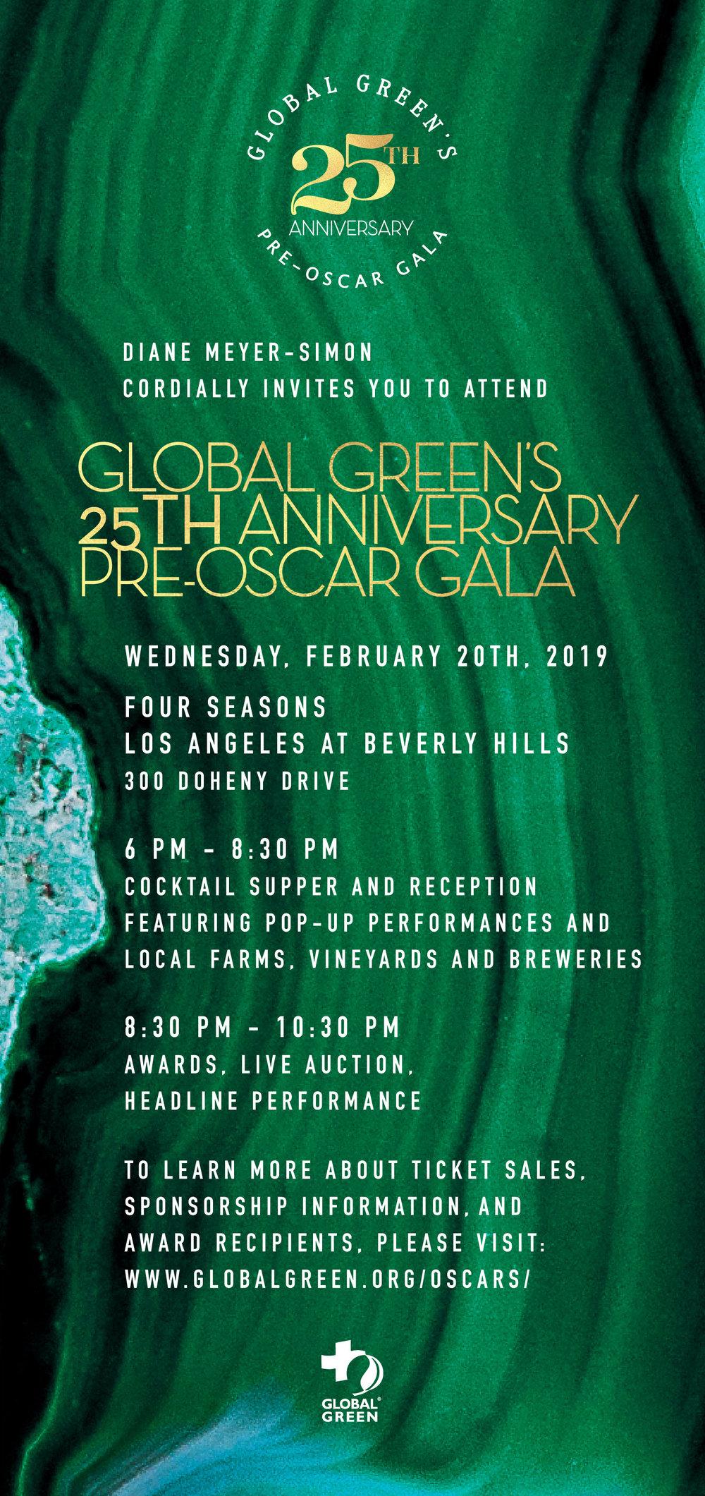 Global Green Pre Oscar Gala Invite