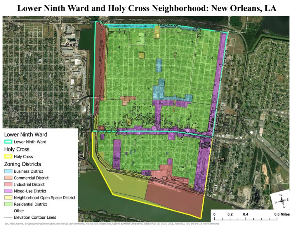 Esri ArcGIS Pro, City of New Orleans, FEMA, USGS, Scale: 1:21,500