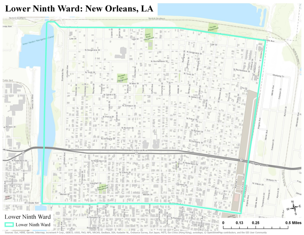 Esri ArcGIS Pro, City of New Orleans, FEMA, USGS, Scale: 1:15,000