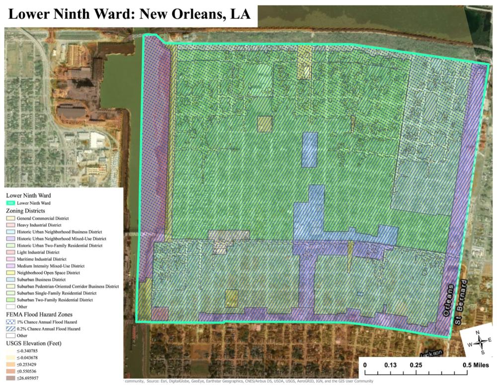 Esri ArcGIS Pro, City of New Orleans, FEMA, USGS, Scale: 1:17,000
