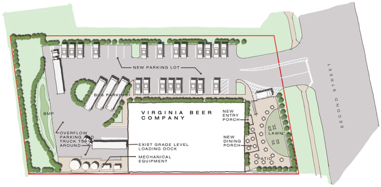 Site plan submission the virginia beer company the entire property is going to be refurbished the parking lot will be repaved new plantings will be added and new lighting will be installed ccuart Images