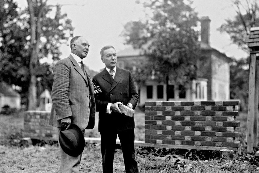 Goodwin and Rockefeller surveying the restoration of Colonial Williamsburg.