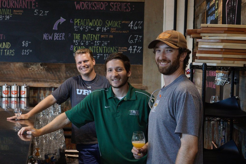 Robby Willey (co-founder), Chris Smith (co-founder), and Jonathan Newman (brewmaster)