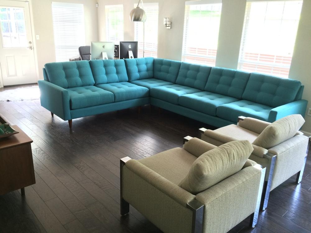 2 piece BuildASofa sectional delivered to a customer in San Antonio