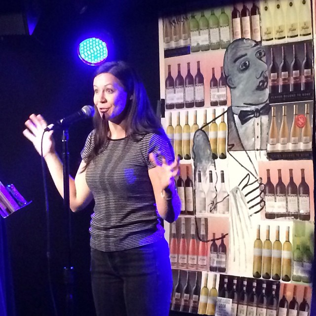 The inimitable and hysterical @lesliegoshko tells a tale of soul harvesting at this past week's @yumsthewordshow #storytelling #stories #themoth #nycstorytelling #nyc #therapture #religionstories #exploitater