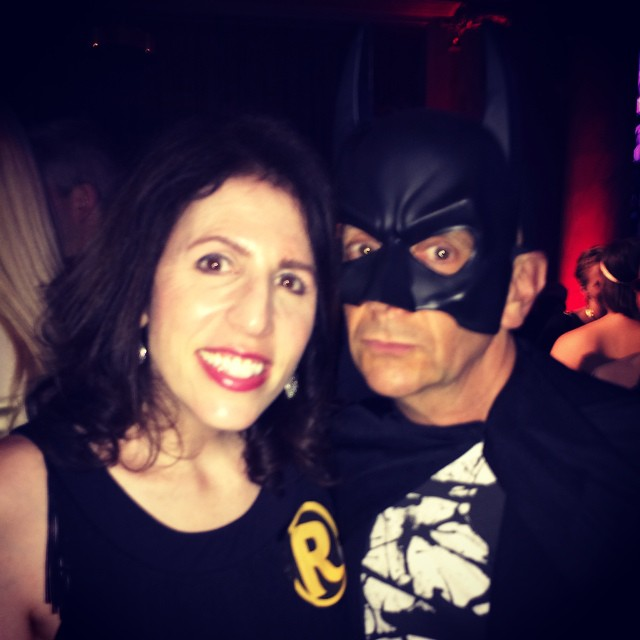The Dynamic Duo at last night's Moth Ball. #builtinsuperhero @mothstories #mothball #mothball2015 #mothstories #batman #batmanandrobin #dccomics #comics #superheroes