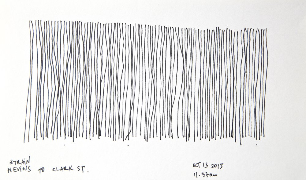 "3 Train (Nevins to Clark St, Oct 13, 11.37am), 2015 Ink on paper, 8"" x 5"""