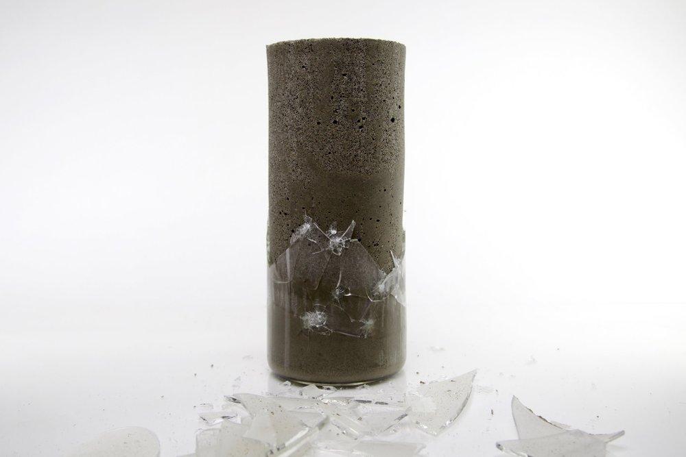 "Glass, concrete 5"" x 5"" x 9"""