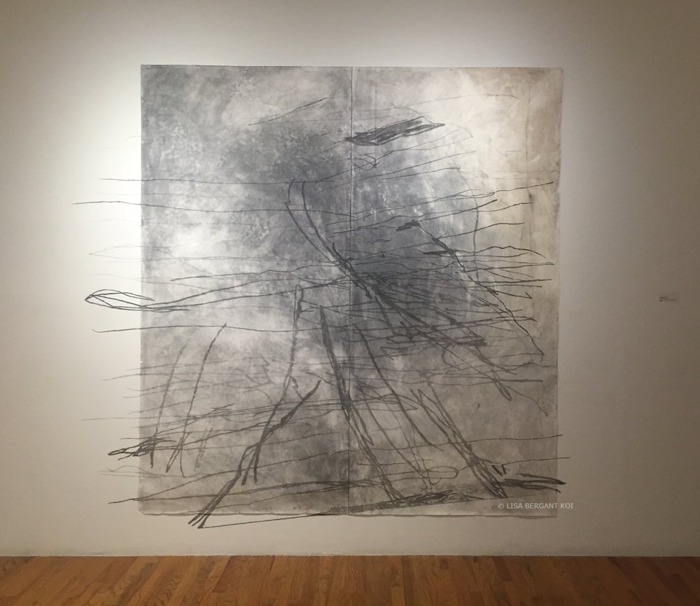 Departure(tarred), graphite, acrylic on paper and wall.