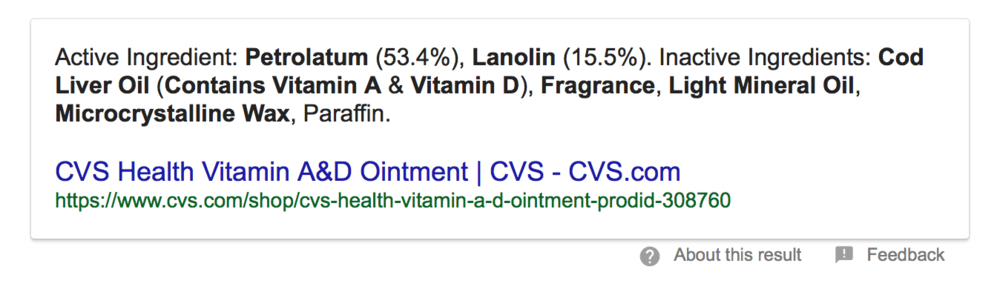 Screenshot from Google.  We'll dissect these ingredients in another blog post.