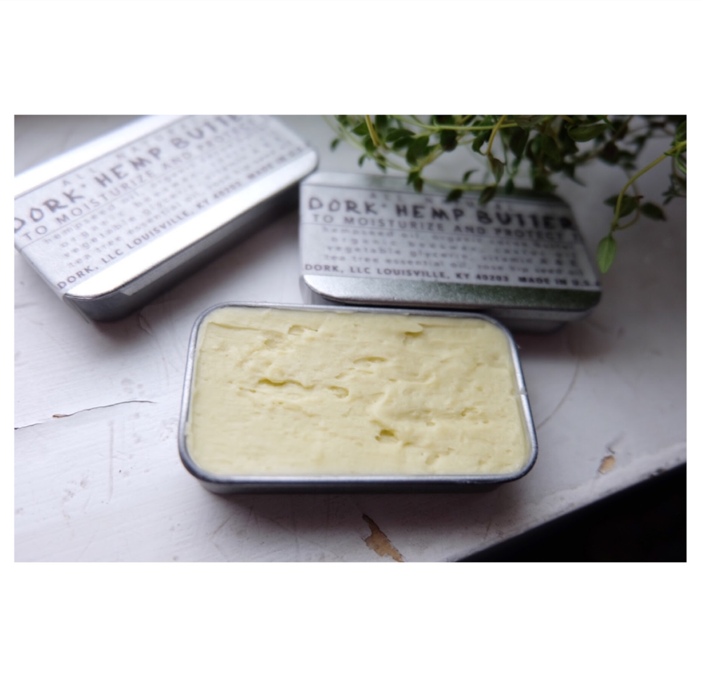 Hemp Butter is whipped to make a thicker and smoother texture.  Feel the glide when you scoop and apply it to your skin!