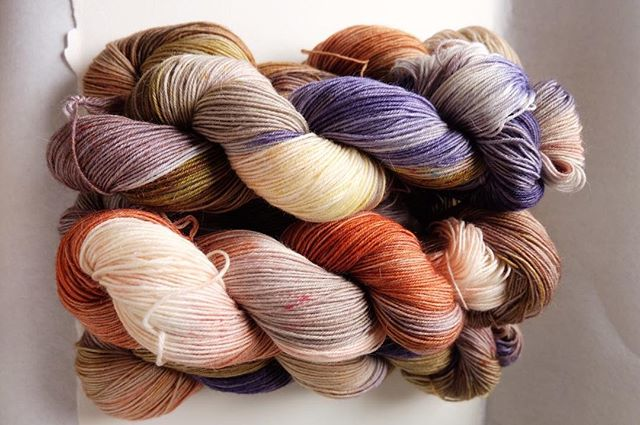 @wadoree is working on some amazing color ways for yarn enthusiasts.  This series is called Cornucopia.  Merino, mohair and nylon, fingering weight.  #tba #yarn #knitting #wool #falltime #handmade #handcrafted #handdyed #yarnlife #dork_goods #adorkslife