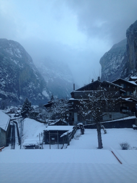 This was my view from the loft I slept in at the Valley Hostel in Lauterbrunnen, Switzerland!