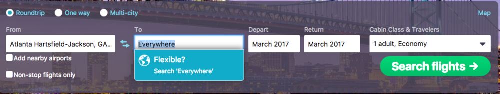 Skyscanner Everywhere Option