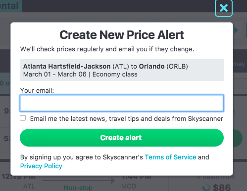 Newsletter Option via Skyscanner