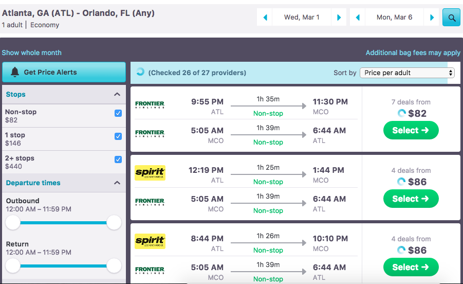 Flight options via Skyscanner