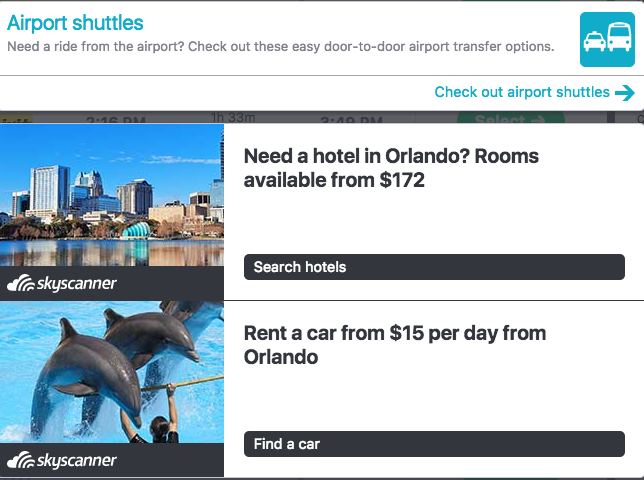Add-ons via Skyscanner