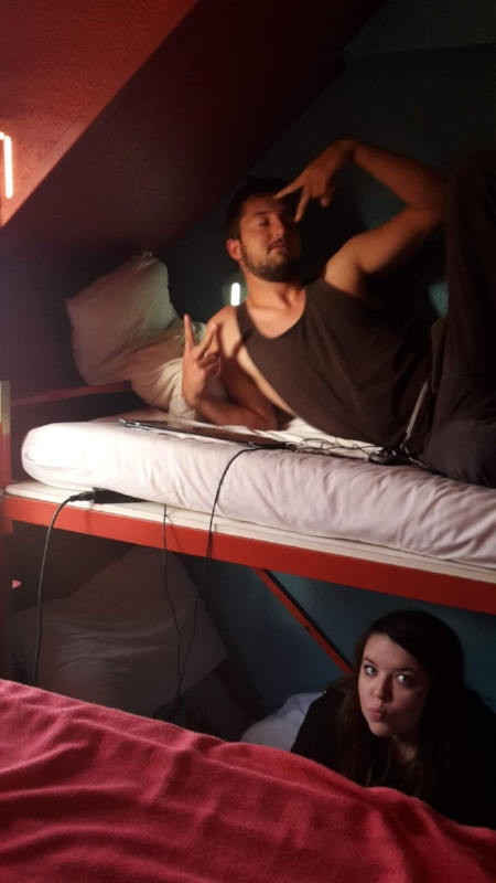 That's me on the bottom bunk. We had four bunk beds and that's Alex on top.
