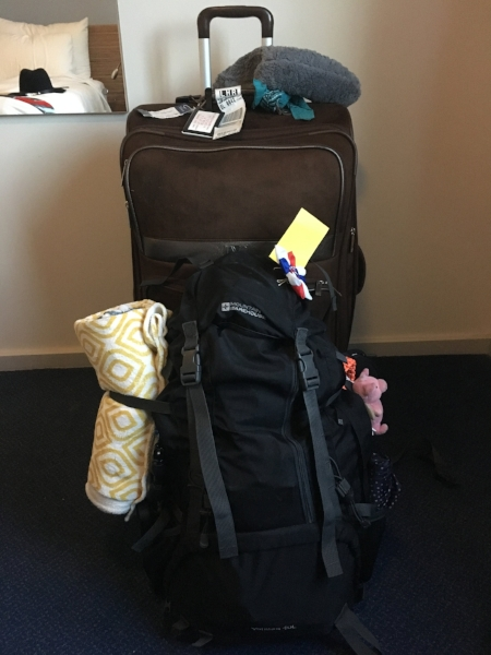 My luggage after I left Scotland. I got rid of a backpack and lots of clothing!