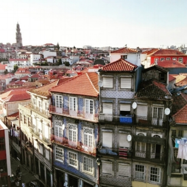 The view of Old Town in Porto, Portugal from the Cathedral
