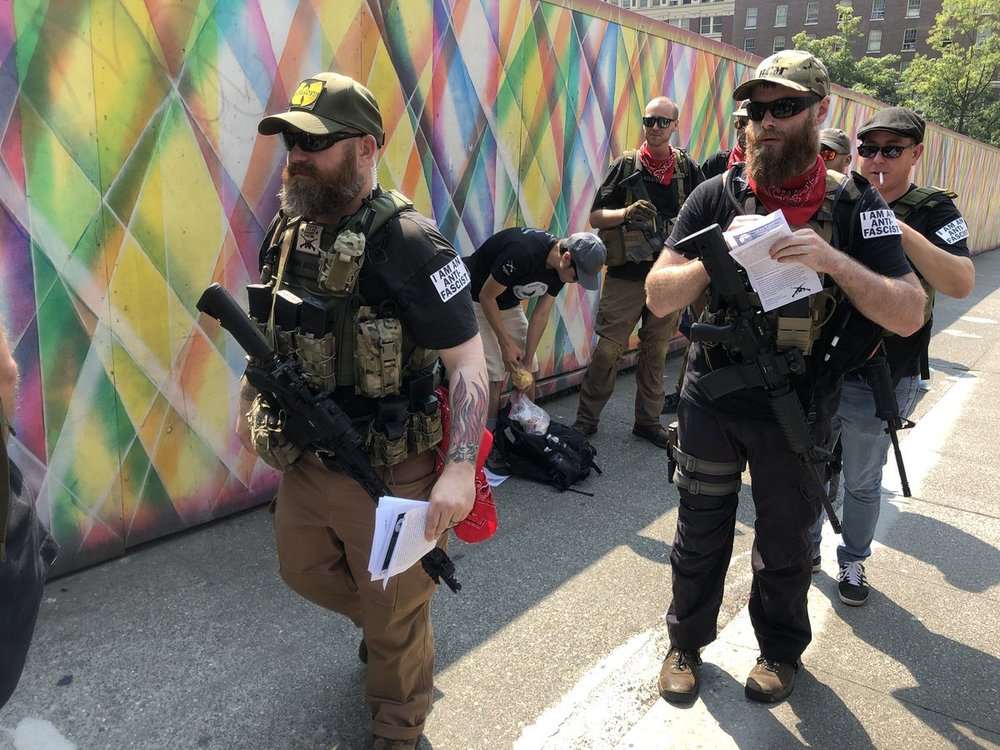Members of the Puget Sound John Brown Gun Club at a protest in Seattle this August, Source: Reddit